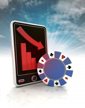 descending graph of bet games on phone display with sky illustration illustration