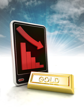 descending graph of gold production on phone display with sky illustration illustration