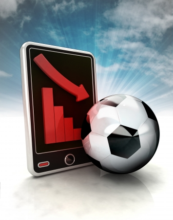 descending graph of football results on phone display with sky illustration illustration