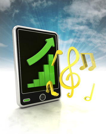 music production: increasing graph stats of music production on phone display with sky illustration