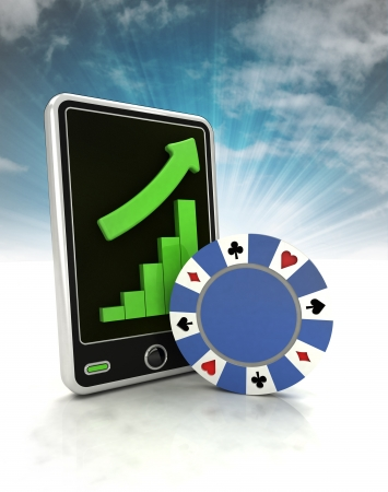increasing graph of bet game industry on phone display with sky illustration illustration