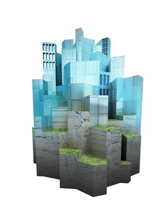 settled: isolated modern city island settled on hill levels render illustration