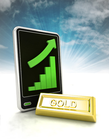 increasing graph stats of gold trade business on phone display with sky illustration