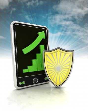 secure increasing graph stats on phone display with sky illustration