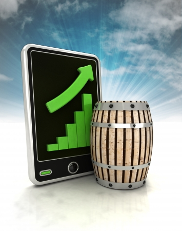 beverage display: increasing graph stats of beverage production on phone display with sky illustration Stock Photo