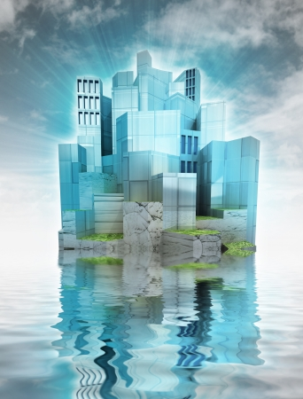 modern city island with ocean reflections and sky render illustration  illustration