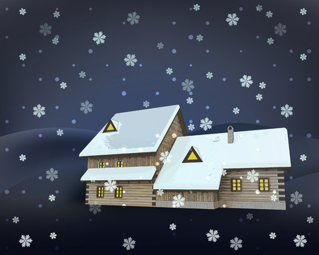 rural winter wooden cottage side perspective at night snowfall vector illustration Vector