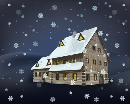 rural winter wooden cottage mansion at night snowfall vector illustration Vector