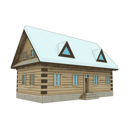isolated simply winter wooden cottage vector illustration Vector