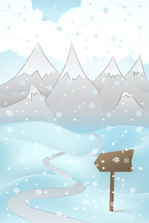 high road: high winter mountain landscape scene with road adn pointer at snowfall vector illustration Illustration