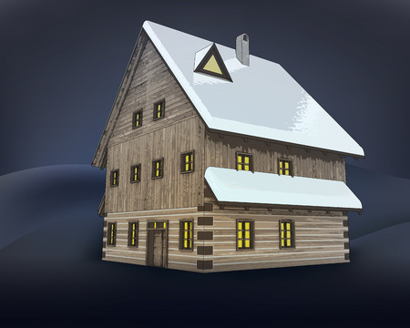rustic winter wooden high cottage house at night vector illustration