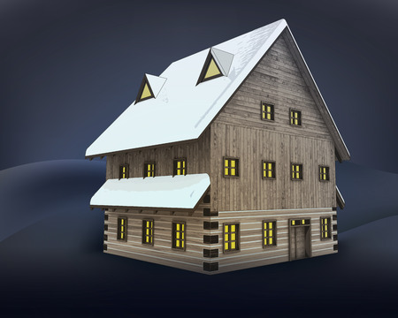 rural winter wooden high cottage perspective at night vector illustration Illustration