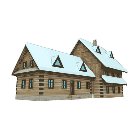 isolated rural winter wooden cottage mansion perspective vector illustration Vector
