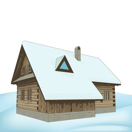 rural winter wooden cottage vector illustration Vector