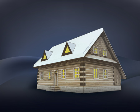 classical winter wooden cottage at night vector illustration Vector