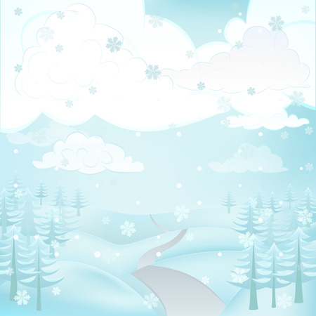 square winter landscape view with road and conifer trees at snowfall vector illustration