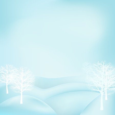 broad leaf: square winter landscape view with snowy hills and broad leaf trees vector illustration