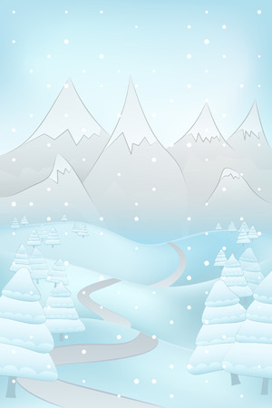 conifer: high winter landscape scene with road to mountains and fir trees at snowfall vector illustration Illustration