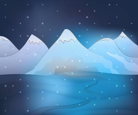 winter scene: calm free winter landscape plain scene at night snowfall vector illustration Illustration