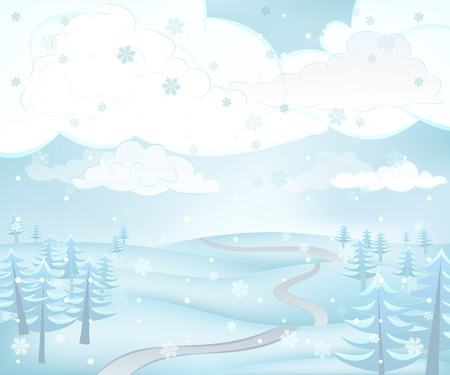 calm winter landscape scene with conifer trees around path at snowfall vector illustration Vector