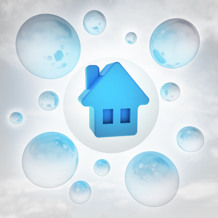 blue house icon with glossy bubbles in the air with flare illustration illustration