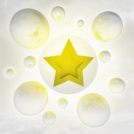 one golden star with glossy bubbles in the air with flare illustration illustration