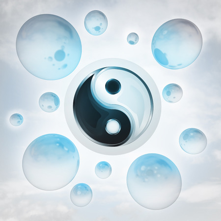 yin yang harmony with glossy bubbles in the air with flare illustration illustration