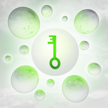 green key with glossy bubbles in the air with flare illustration illustration