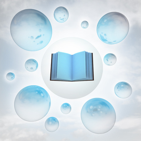 open book with glossy bubbles in the air with flare illustration illustration
