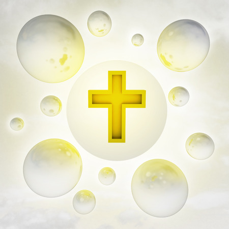 christian golden cross with glossy bubbles in the air with flare illustration