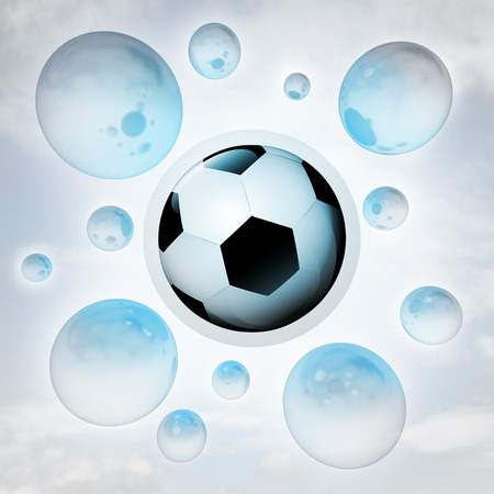 football ball with glossy bubbles in the air with flare illustration illustration