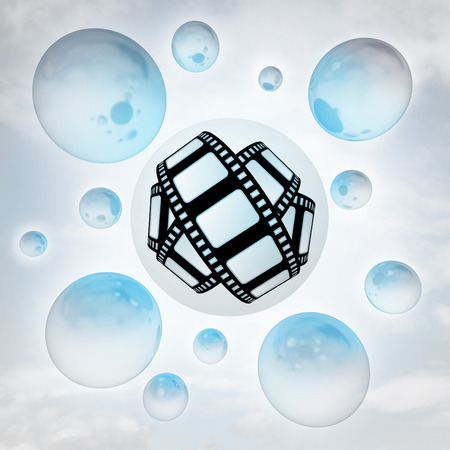 movie tape icon with glossy bubbles in the air with flare illustration illustration