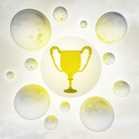 golden cup with glossy bubbles in the air with flare illustration illustration