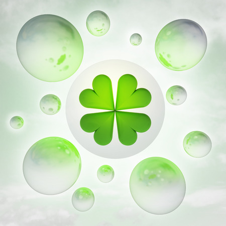 felicity: cloverleaf luck with glossy bubbles in the air with flare illustration