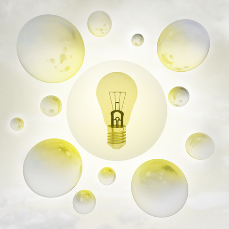 yellow shiny bulb with glossy bubbles in the air with flare illustration illustration