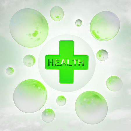 health icon with glossy bubbles in the air with flare illustration illustration