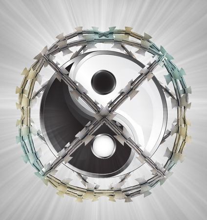 protected meditation in barbed sphere fence illustration illustration