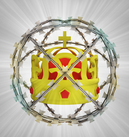 protected crown in barbed sphere fence illustration illustration