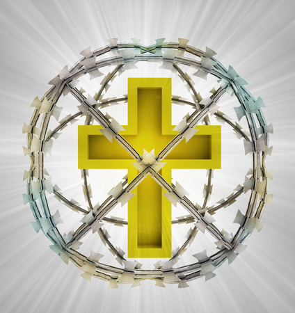 godness: protected cross in barbed sphere fence illustration Stock Photo