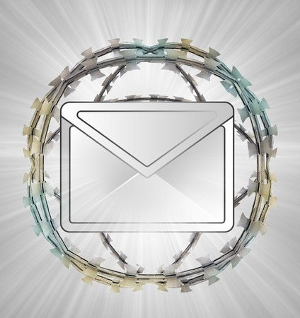 send to prison: protected message in barbed sphere fence illustration Stock Photo