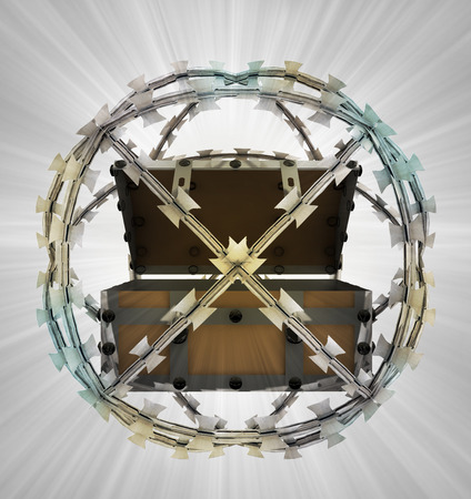 protected treasure in barbed sphere fence illustration illustration