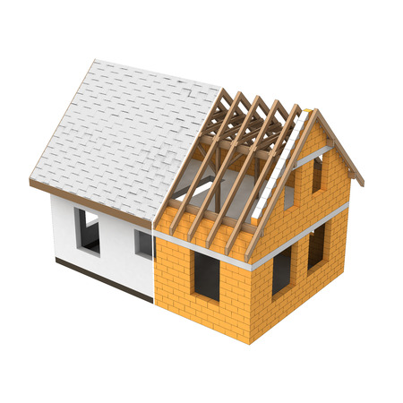 structural: new house structural design section transition illustration Stock Photo