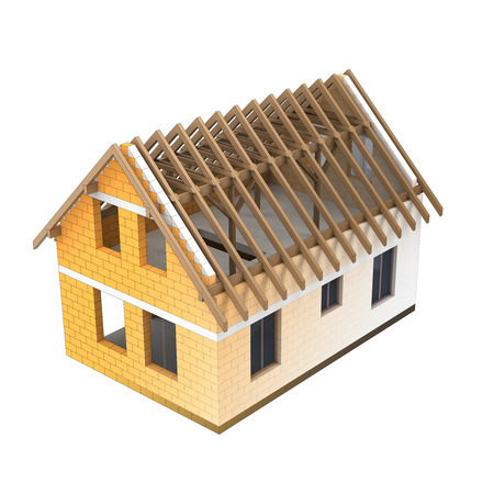 rafter: isolated house construction design blend transition illustration Stock Photo