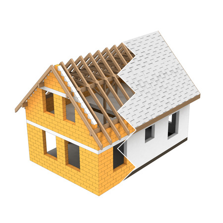 isolated house structural design zigzag transition illustration
