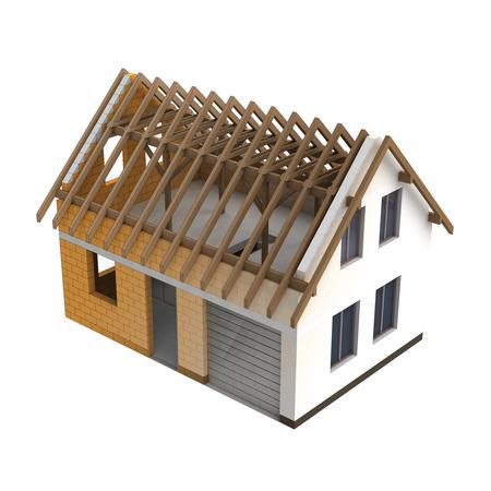 schema: wooden construction house design blend transition illustration