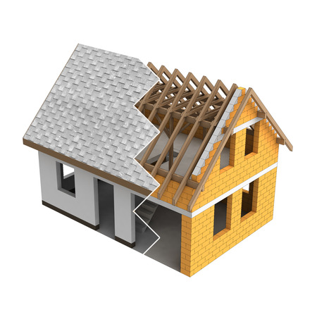 roofing: roofing construction house design zigzag transition illustration Stock Photo
