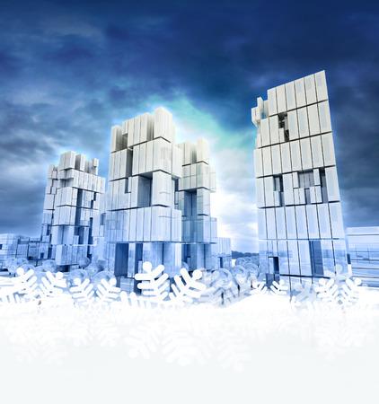 Modern business city with snoflake frame illustration illustration