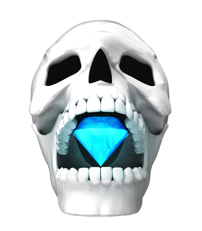 jaws: isolated human skull head with undead diamond in jaws illustration Stock Photo