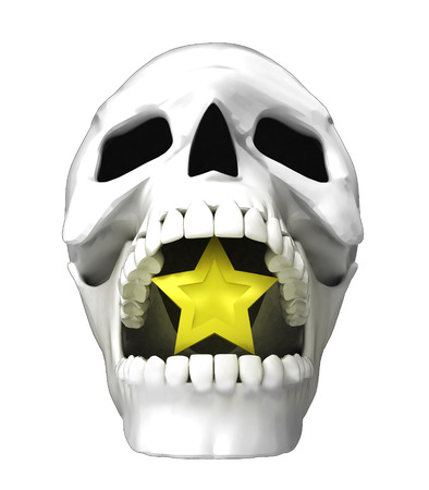 isolated human skull head with golden star in jaws illustration illustration