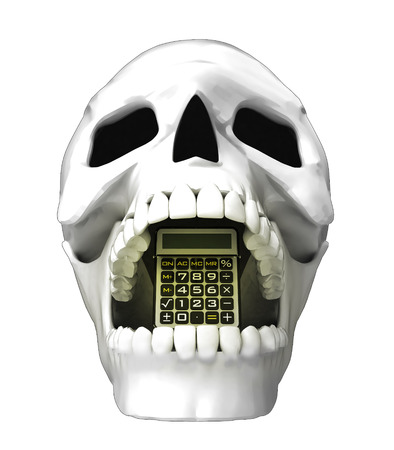 jaws: isolated human skull head with life calculator in jaws illustration